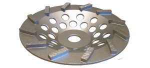 Silver turbo grinding wheel side view