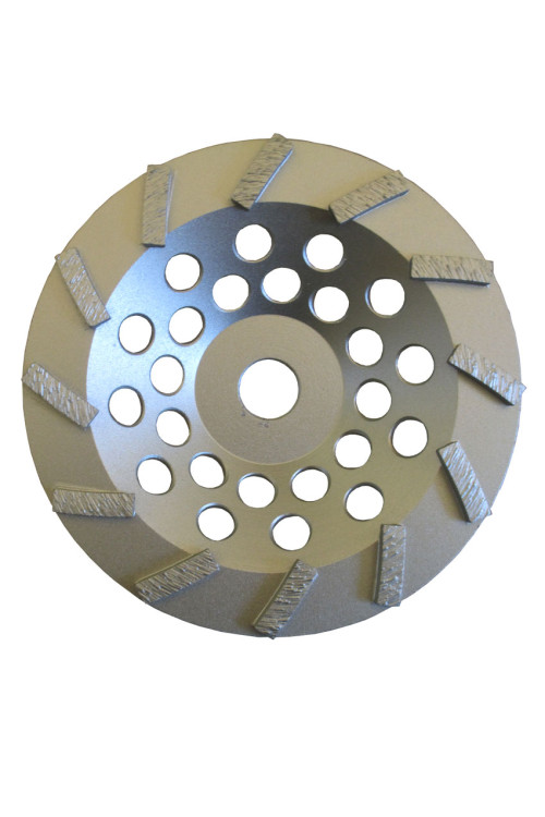 Silver turbo grinding wheel top view
